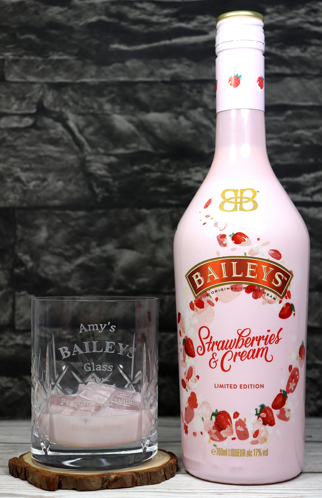 Personalised Crystal Glass Tumbler & 70cl Baileys Strawberries & Cream - Baileys Design