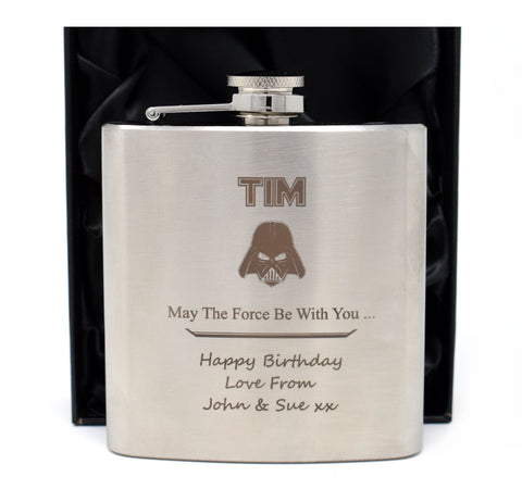 Personalised Silver Hip Flask in Gift Box - Stars Wars Darth Vader Design