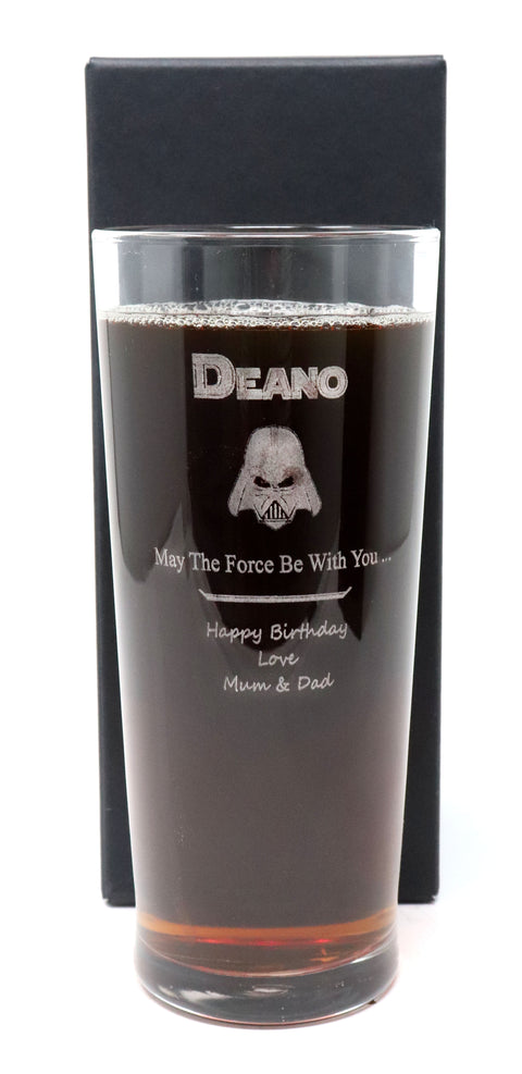 Personalised New Pint Glass - Star Wars Darth Vader Design