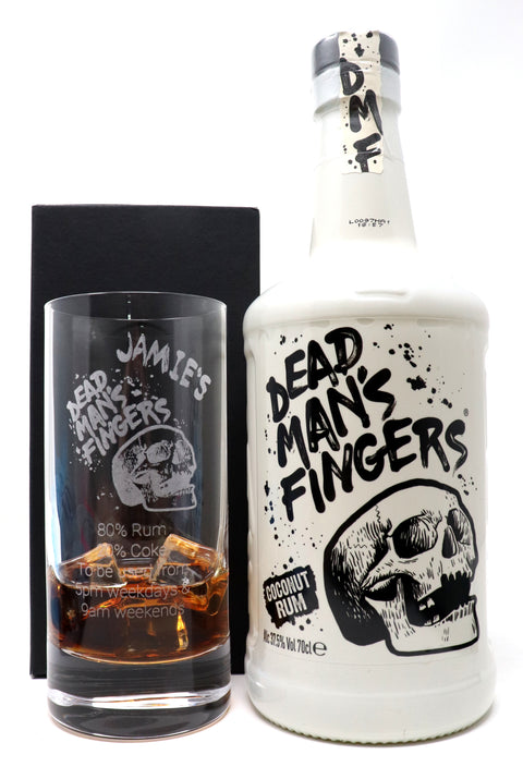 Personalised Premium Highball Glass & 70cl Dead Man's Fingers Coconut Rum - Dead Man's Fingers Design