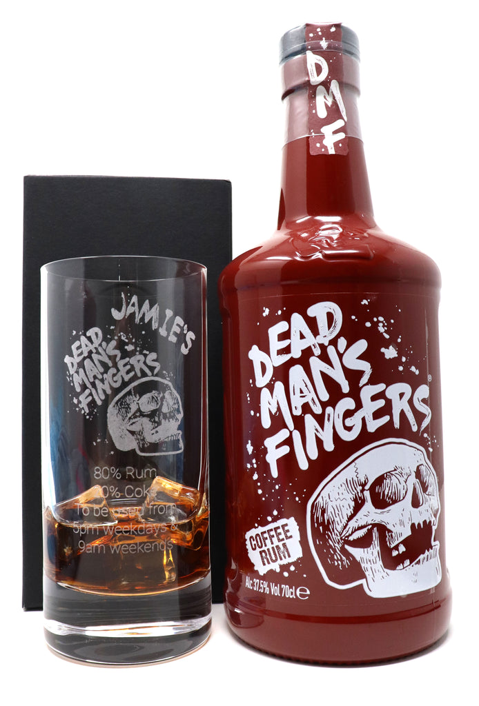 Personalised Premium Highball Glass & 70cl Dead Man's Fingers Coffee Rum - Dead Man's Fingers Design