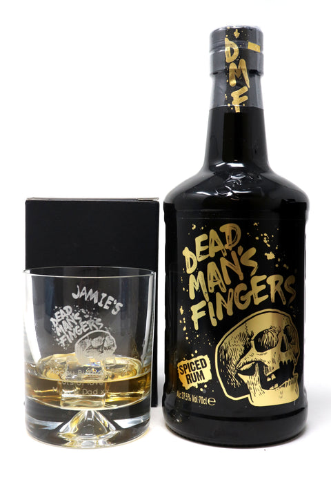 Personalised Dimple Glass Tumbler + 70cl Dead Man's Fingers Spiced Rum - Dead Man's Fingers Design