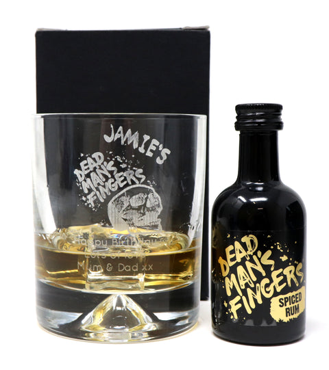 Dimple Base Glass Tumbler & Miniature - Dead Man's Fingers Rum Design