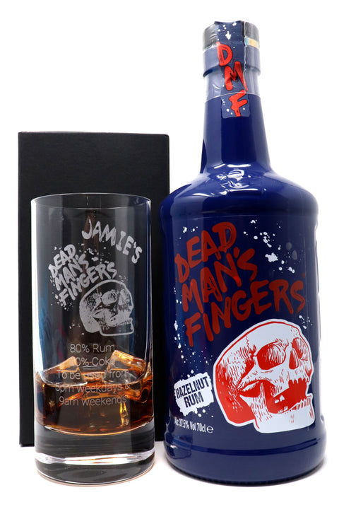 Personalised Premium Highball Glass & 70cl Dead Man's Fingers Hazelnut Rum - Dead Man's Fingers Design