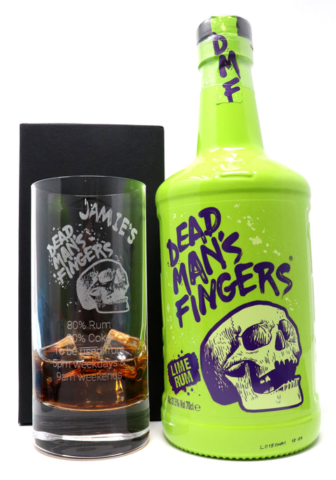 Personalised Premium Highball Glass & 70cl Dead Man's Fingers Lime Rum - Dead Man's Fingers Design