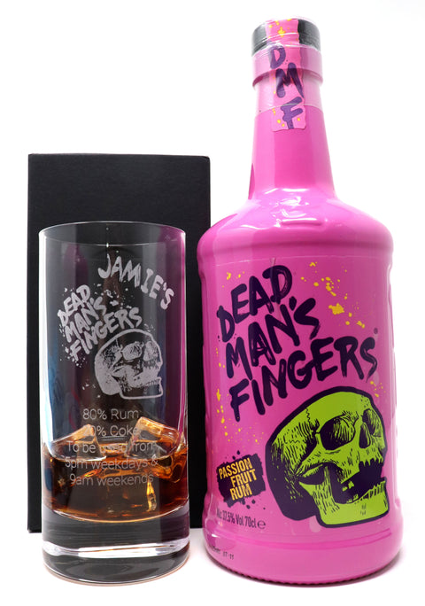 Personalised Premium Highball Glass & 70cl Dead Man's Fingers Passion Fruit Rum - Dead Man's Fingers Design