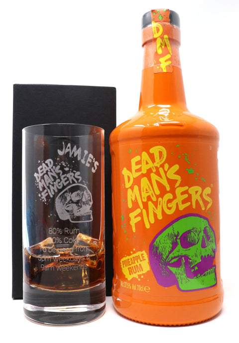 Personalised Premium Highball Glass & 70cl Dead Man's Fingers Pineapple Rum - Dead Man's Fingers Design