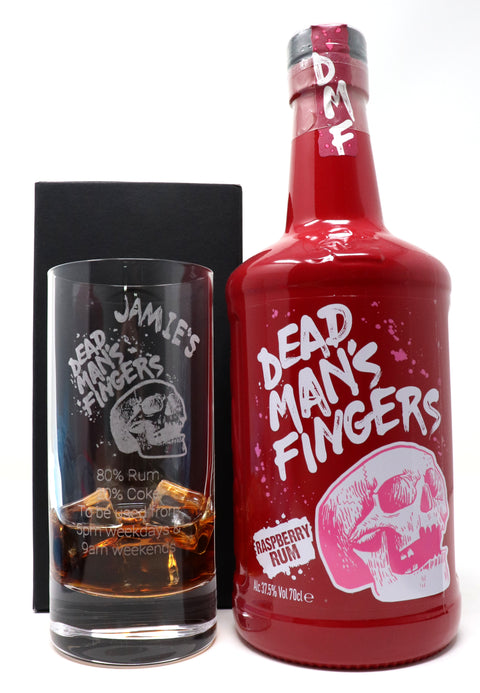Personalised Premium Highball Glass & 70cl Dead Man's Fingers Raspberry Rum - Dead Man's Fingers Design