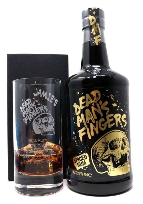 Personalised Premium Highball Glass & 70cl Dead Man's Fingers Spiced Rum - Dead Man's Fingers Design