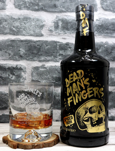 Personalised Dimple Tumbler + 70cl Dead Man's Fingers Spiced Rum - Dead Man's Fingers Design