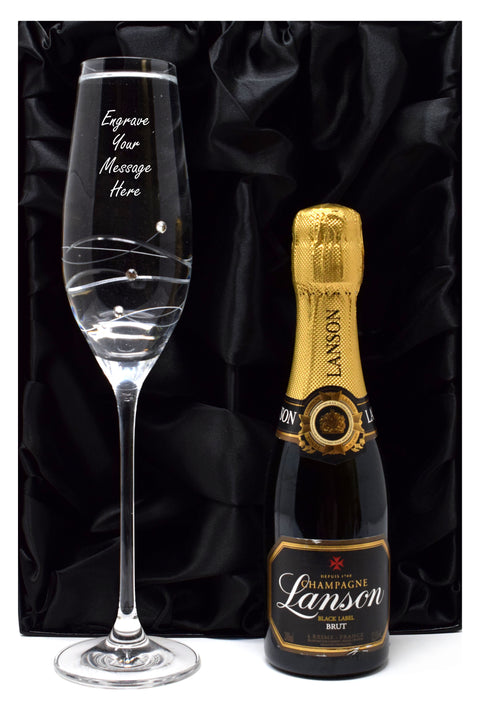 Personalised Diamante Flute & Champagne