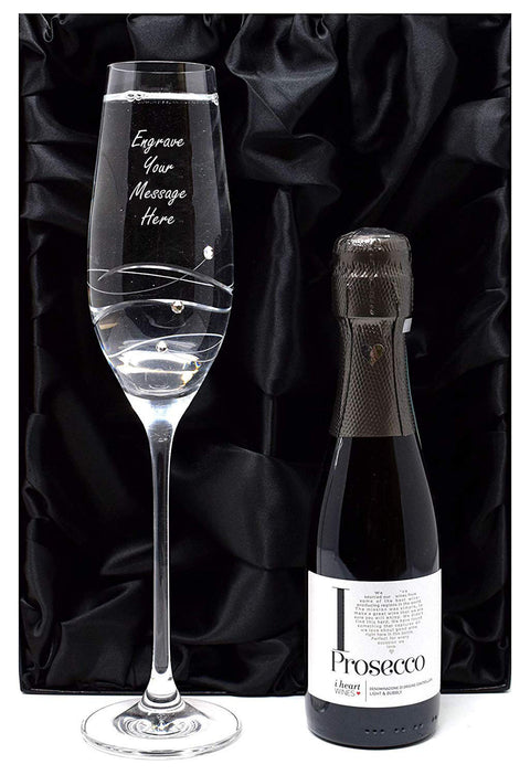 Personalised Diamante Flute Glass + Prosecco in Silk Lined Gift Box