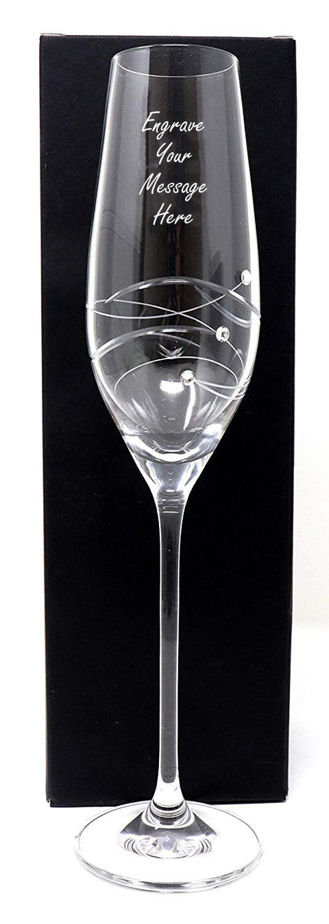 Personalised Diamante Flute Glass