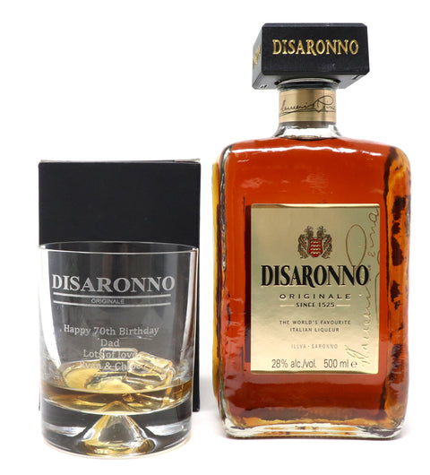 Personalised Dimple Base Glass Tumbler & 50cl Bottle of Amaretto - Disaronno Design