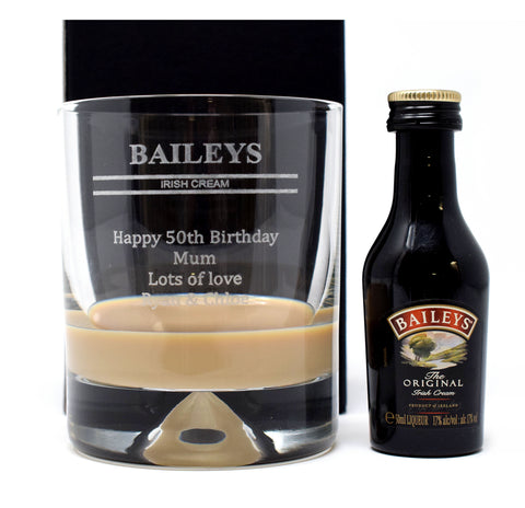 Personalised Dimple Base Glass Tumbler & Miniature - Baileys Design