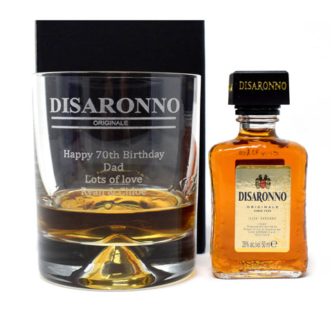 Personalised/Engraved Dimple Base Glass Tumbler & Miniature Gift - Disaronno Design