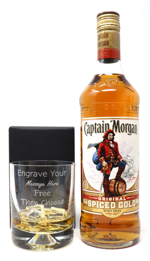 Personalised Dimple Glass Tumbler + 70cl Bottle of Captain Morgan Spiced Rum
