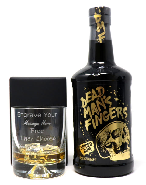 Personalised Dimple Glass Tumbler + 70cl Bottle of Dead Man's Fingers Spiced Rum