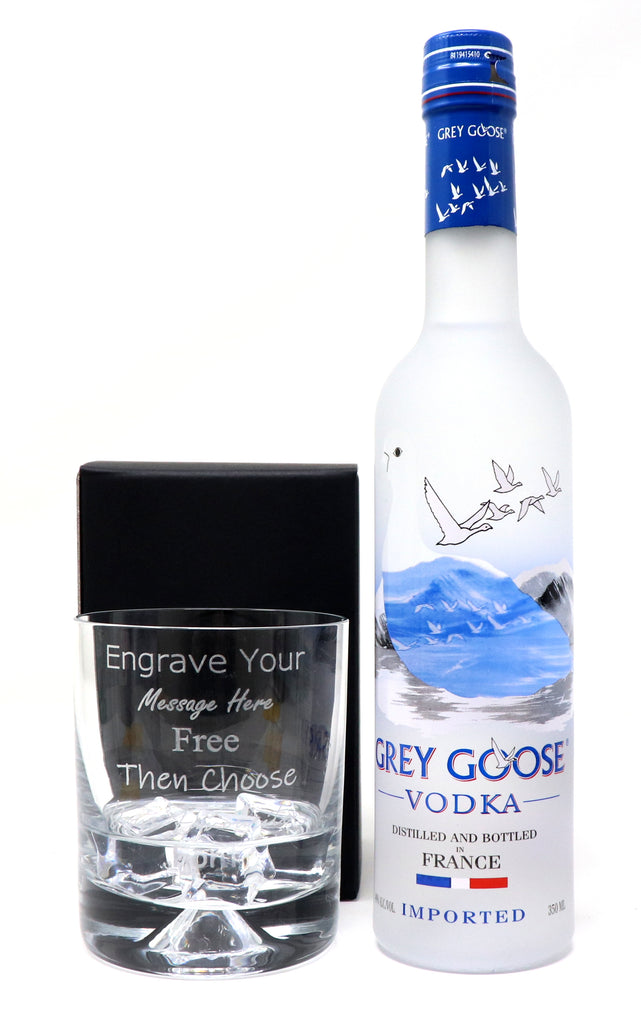 Personalised Dimple Tumbler & 35cl Grey Goose Vodka