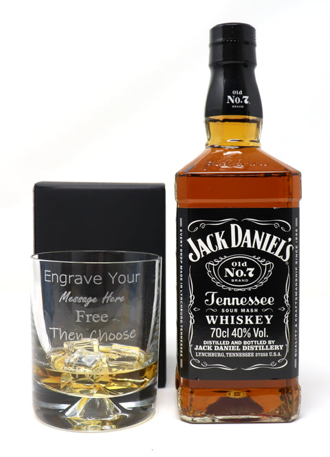 Personalised Dimple Glass Tumbler + 70cl Bottle of Jack Daniels