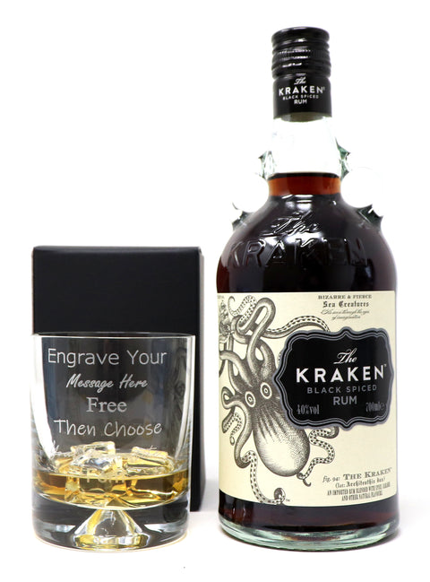 Personalised Dimple Glass Tumbler + 70cl Bottle of Kraken Spiced Rum