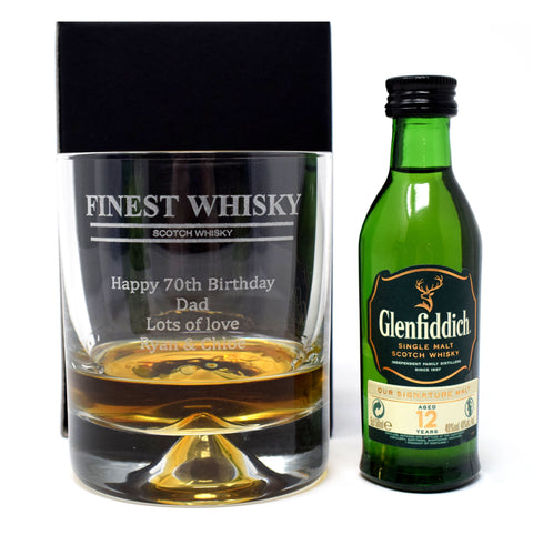 Personalised Dimple Base Glass Tumbler & Miniature - Finest Whisky Design