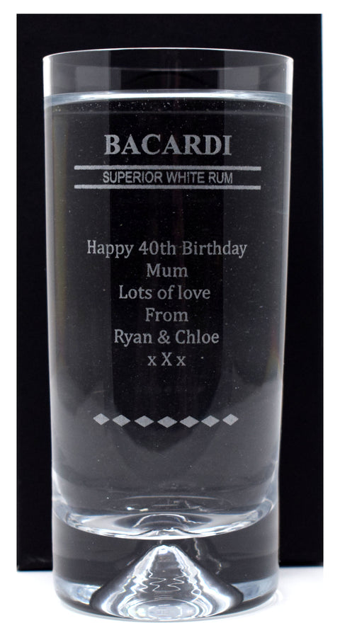 Personalised Dimple Base Highball Glass - Bacardi Design