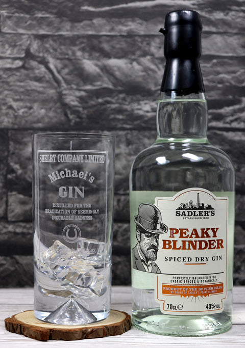 Personalised Dimple Base Highball Glass & 70cl Bottle of Gin - Peaky Blinders Gin Design