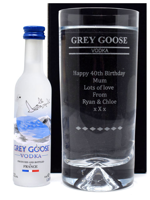 Personalised Dimple Base Highball Glass & Miniature - Grey Goose Vodka Design