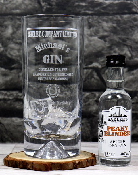 Personalised Dimple Base Highball Glass & Miniature Gin - Peaky Blinders Gin Design