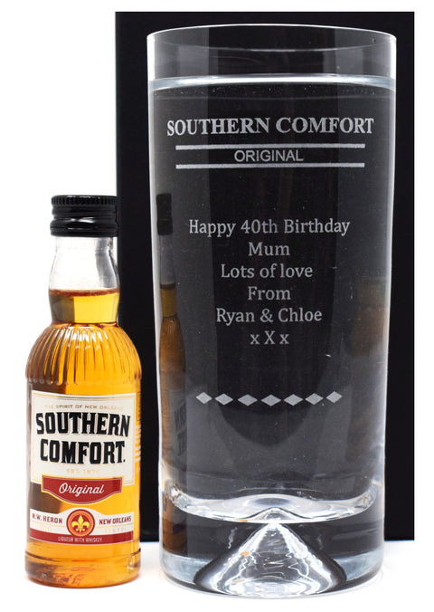 Personalised Dimple Base Highball Glass & Miniature - Southern Comfort Design