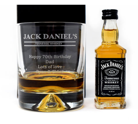 Personalised/Engraved Dimple Base Glass Tumbler & Miniature Gift - Jack Daniels Design