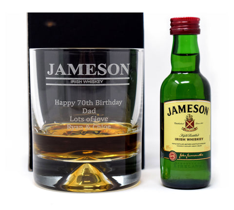 Personalised/Engraved Dimple Base Glass Tumbler & Miniature Gift - Jameson Design