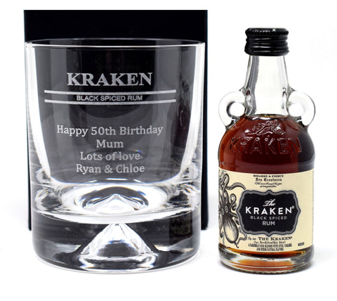 Personalised Dimple Base Glass Tumbler & Miniature - Kraken Spiced Rum Design