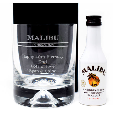 Personalised Dimple Base Glass Tumbler & Miniature Gift - Malibu Design