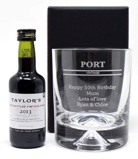 Personalised Dimple Base Glass Tumbler & Miniature - Port Design
