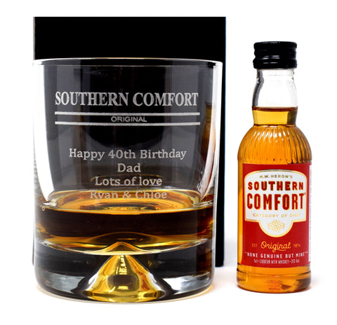 Personalised/Engraved Dimple Base Glass Tumbler & Miniature Gift - Southern Comfort Design