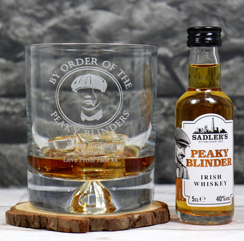 Personalised Dimple Glass Tumbler & Miniature - Peaky Blinders Design