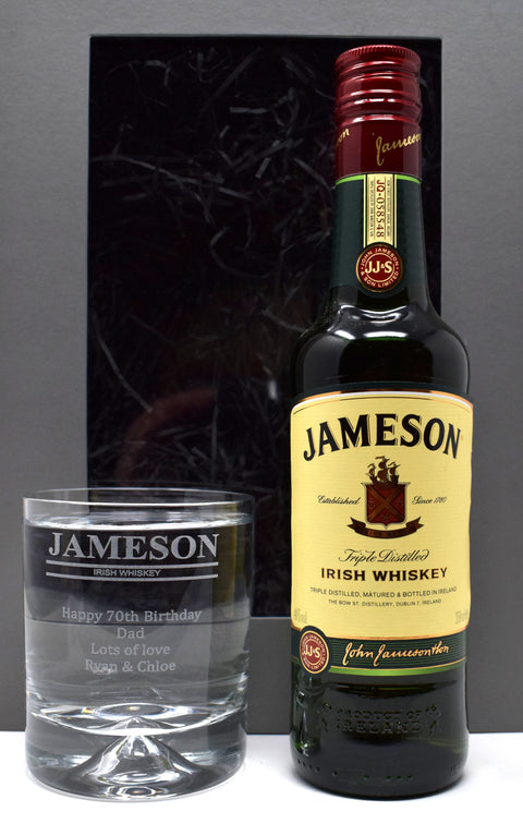 Personalised Dimple Base Glass Tumbler & 35cl Jameson in Grey Presentation Gift Box - Jameson Design