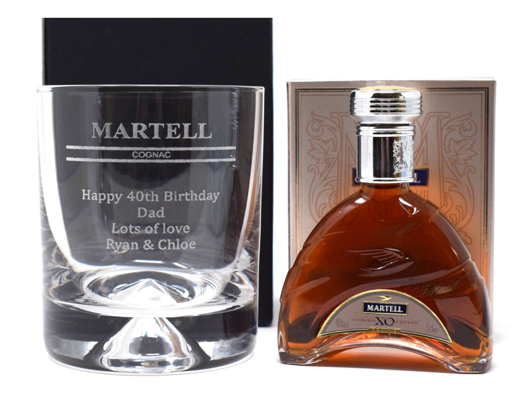 Personalised Dimple Base Glass Tumbler & Miniature - Martell Cognac Design