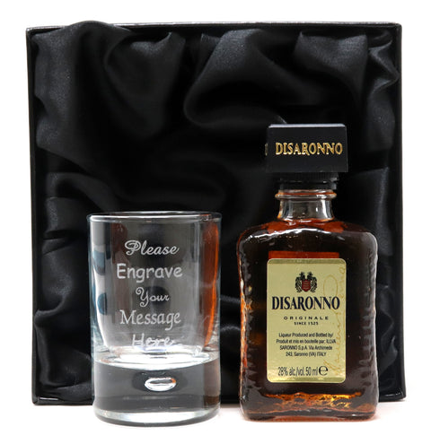 Personalised Shot Glass & Disaronno in Silk Gift Box