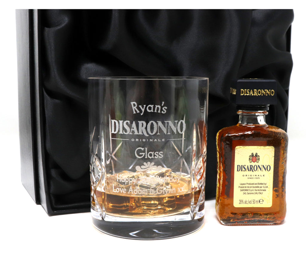 Personalised Crystal Glass Tumbler & Miniature in Silk Box - Disaronno Design