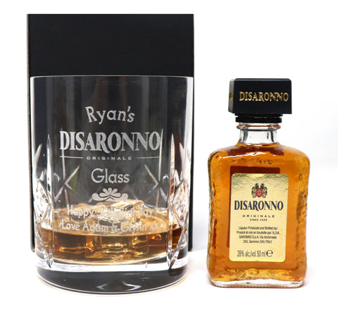 Personalised Crystal Glass Tumbler & Miniature - Disaronno Design