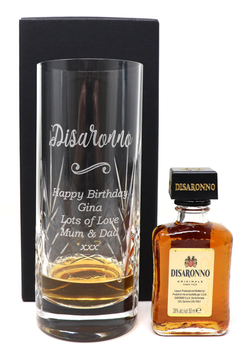 Personalised Bubble Based Glass Tumbler + Miniature - Disaronno Design