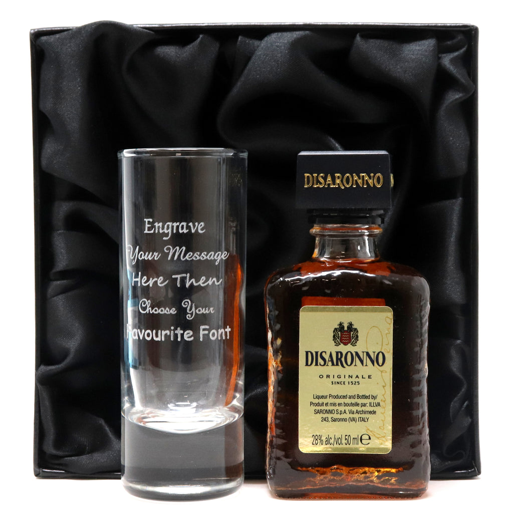 Personalised Tall Shot Glass & Disaronno in Silk Gift Box