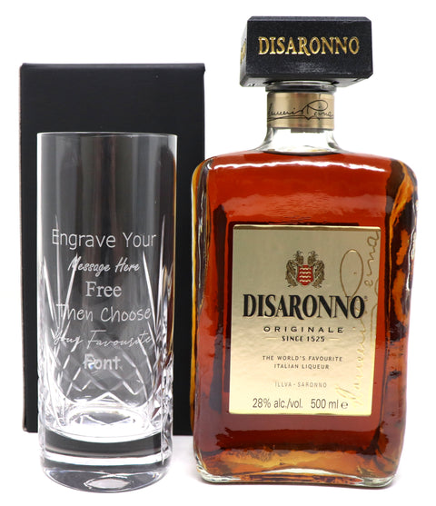 Personalised Crystal Highball & 50cl Disaronno Amaretto