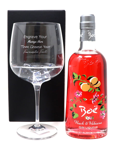 Personalised Gin Balloon Cocktail Glass & 50cl Bottle of Boe Peach & Hibiscus Gin