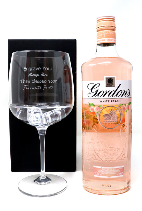Personalised Gin Balloon Cocktail Glass & 70cl Bottle of Gordon's White Peach Gin