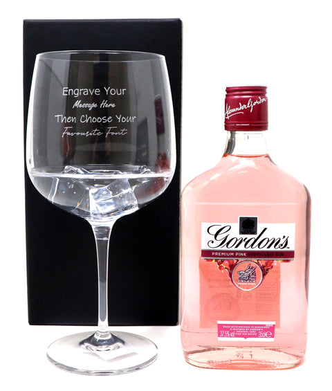 Personalised Gin Balloon Cocktail Glass & 35cl Bottle of Gordon's Pink Gin