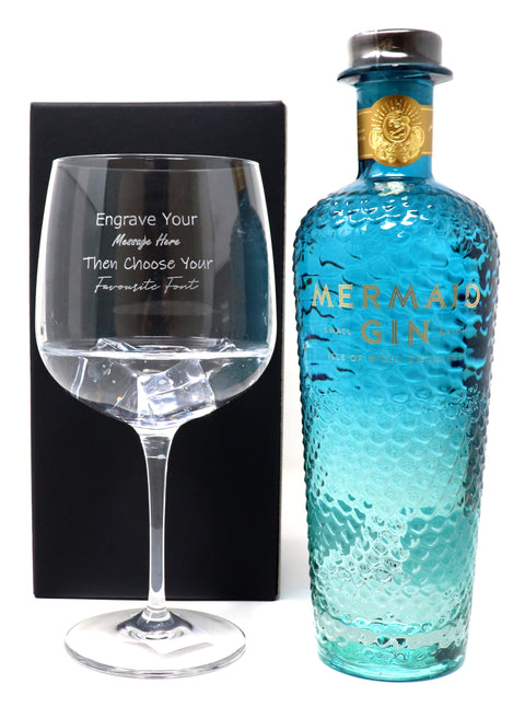 Personalised Gin Balloon Cocktail Glass & 70cl Bottle of Mermaid Blue Gin